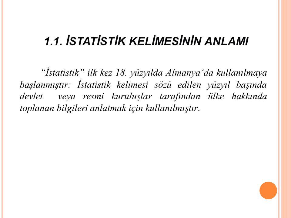 1.1.İSTATİSTİK KELİMESİNİN ANLAMI İstatistik ilk kez 18.