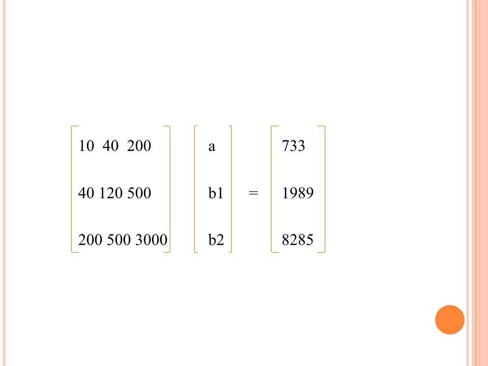 10 40 200 a 733 40 120500 b1 = 1989 200 500 3000 b2 8285