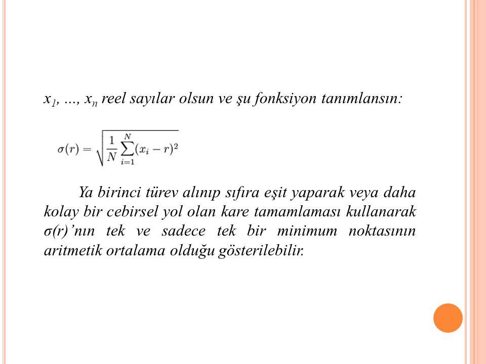 x 1,..., x n reel sayılar olsun ve şu fonksiyon tanımlansın: Ya birinci türev alınıp sıfıra eşit yaparak veya daha kolay bir cebirsel yol olan kare tamamlaması kullanarak σ(r)'nın tek ve sadece tek bir minimum noktasının aritmetik ortalama olduğu gösterilebilir.