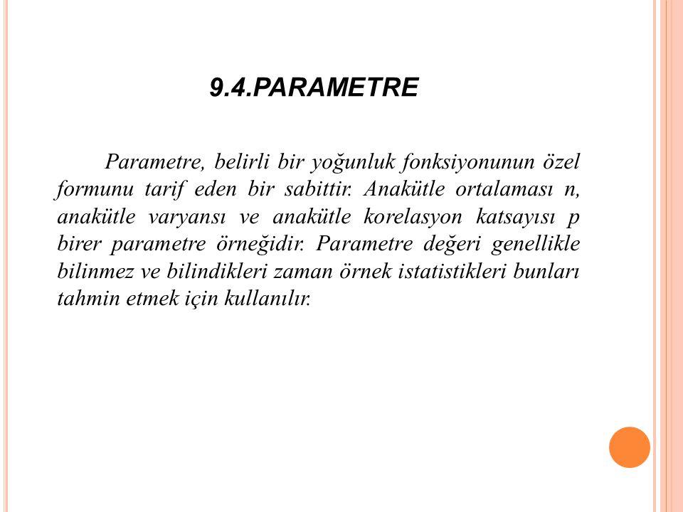 9.4.PARAMETRE Parametre, belirli bir yoğunluk fonksiyonunun özel formunu tarif eden bir sabittir.
