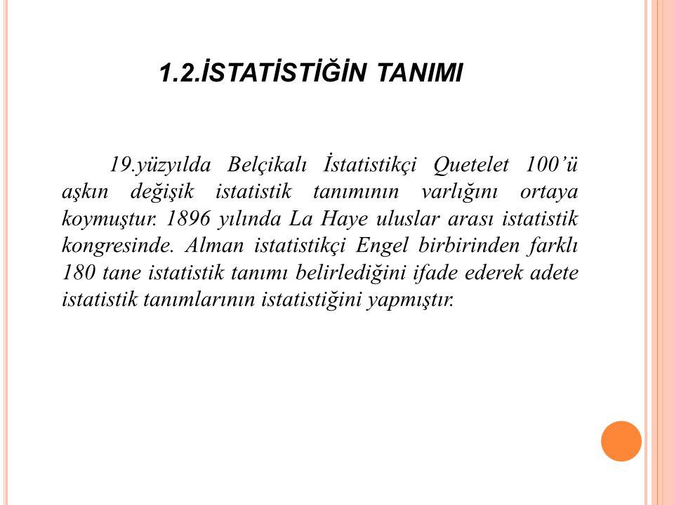 1.2.İSTATİSTİĞİN TANIMI 19.yüzyılda Belçikalı İstatistikçi Quetelet 100'ü aşkın değişik istatistik tanımının varlığını ortaya koymuştur.