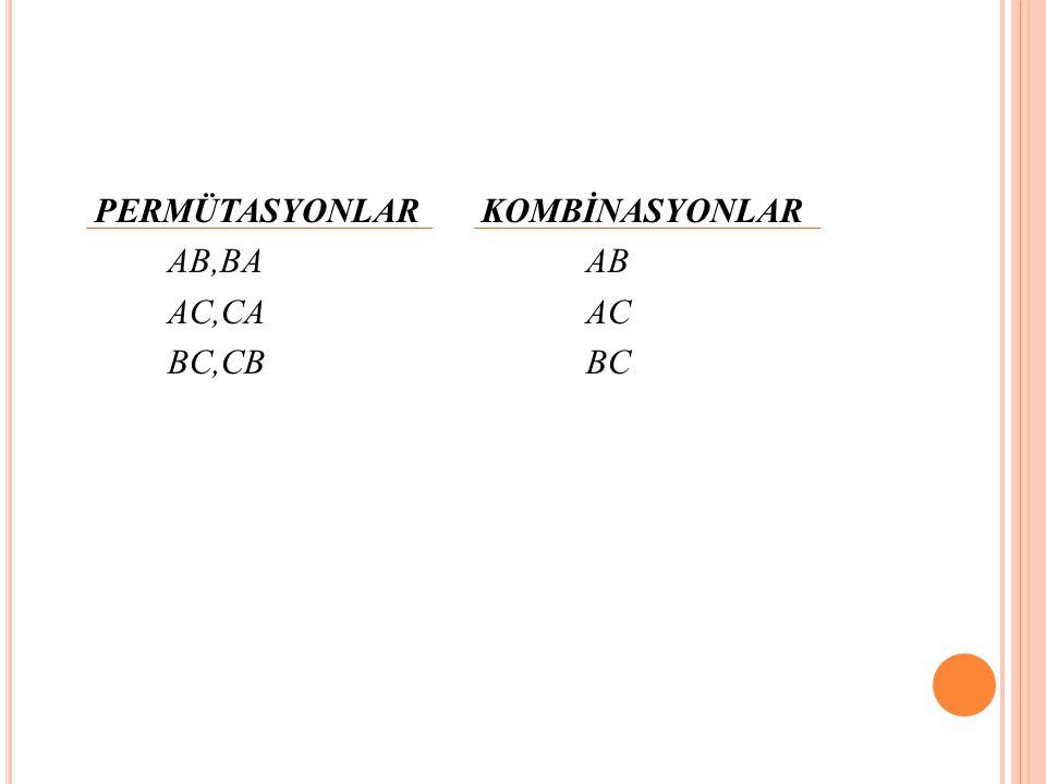 PERMÜTASYONLARKOMBİNASYONLAR AB,BAAB AC,CAAC BC,CBBC