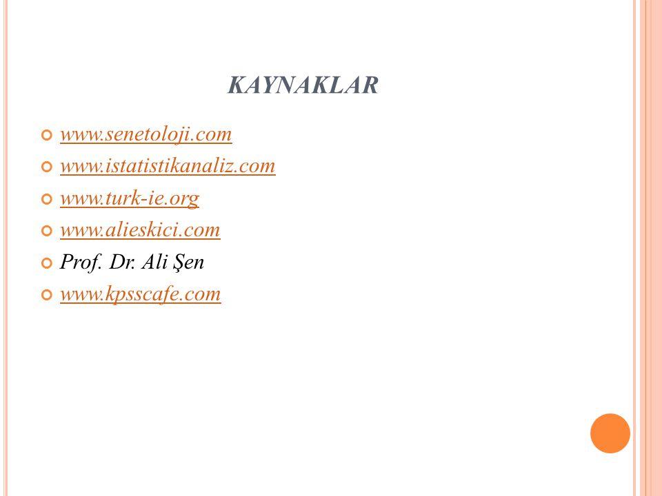 KAYNAKLAR www.senetoloji.com www.istatistikanaliz.com www.turk-ie.org www.alieskici.com Prof.