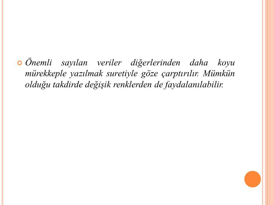 Önemli sayılan veriler diğerlerinden daha koyu mürekkeple yazılmak suretiyle göze çarptırılır.