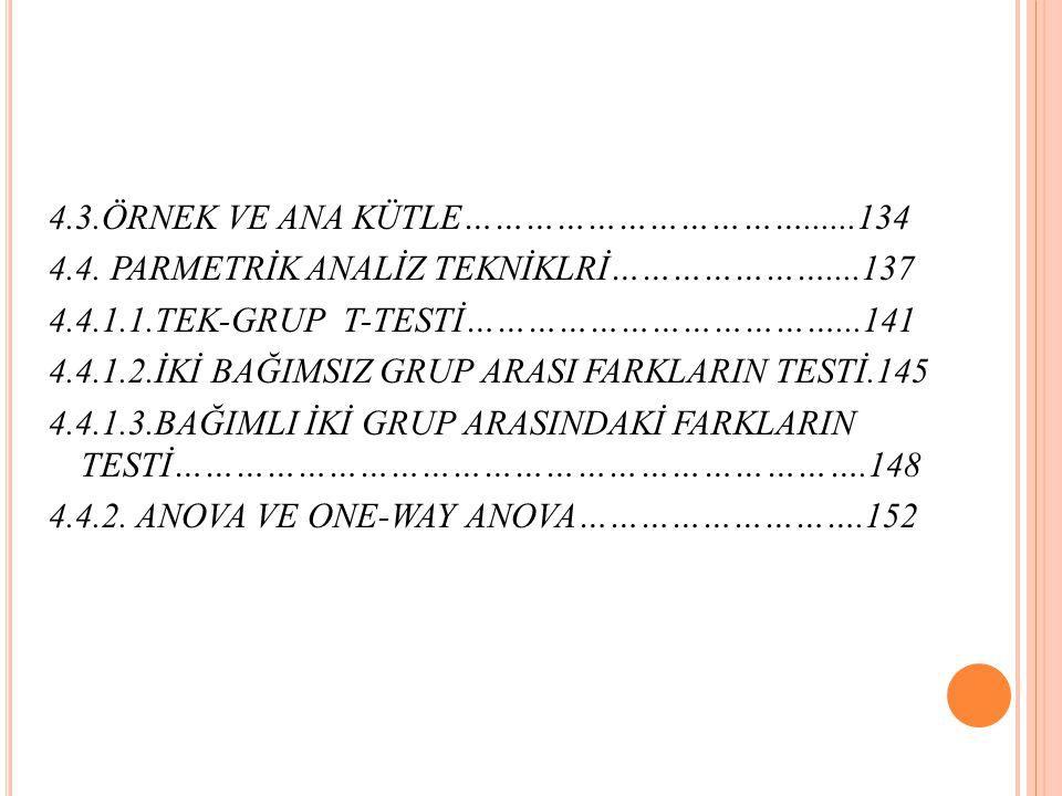 4.3.ÖRNEK VE ANA KÜTLE……………………………......134 4.4.