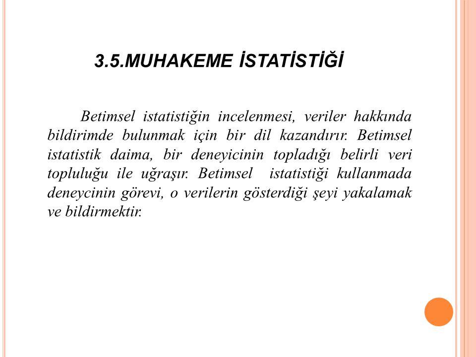 3.5.MUHAKEME İSTATİSTİĞİ Betimsel istatistiğin incelenmesi, veriler hakkında bildirimde bulunmak için bir dil kazandırır.