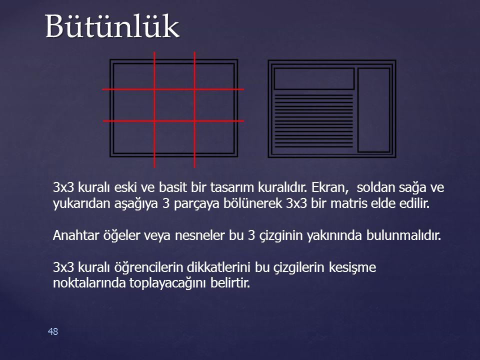 48Bütünlük 3x3 kuralı eski ve basit bir tasarım kuralıdır. Ekran, soldan sağa ve yukarıdan aşağıya 3 parçaya bölünerek 3x3 bir matris elde edilir. Ana