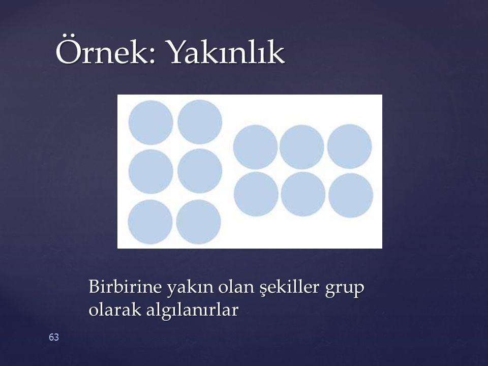 63 Örnek: Yakınlık Birbirine yakın olan şekiller grup olarak algılanırlar