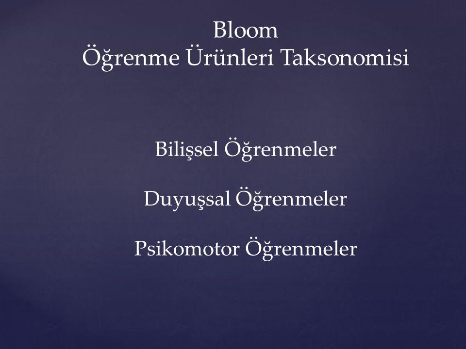 Bloom Öğrenme Ürünleri Taksonomisi Bilişsel Öğrenmeler Duyuşsal Öğrenmeler Psikomotor Öğrenmeler