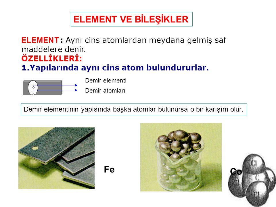 Demir atomları Demir elementi ELEMENT : Aynı cins atomlardan meydana gelmiş saf maddelere denir. ÖZELLİKLERİ: 1.Yapılarında aynı cins atom bulundururl