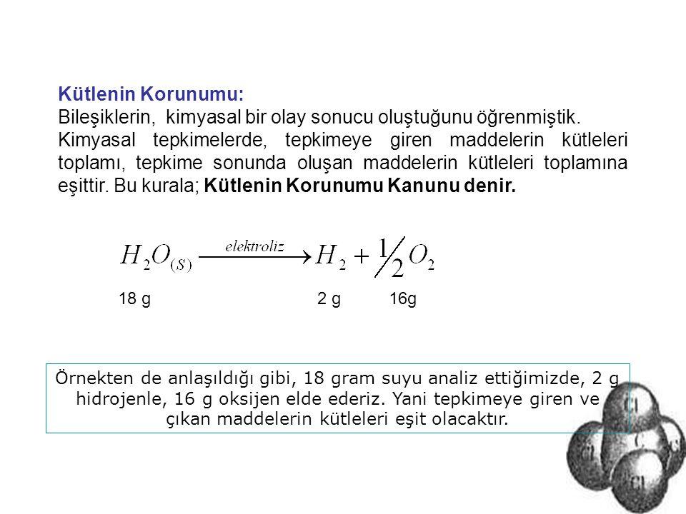 Sabit Oranlar Korunumu: Bir bileşik hangi yolla elde edilirse edilsin, bileşiği oluşturan atomların kütleleri arasında basit tam sayılarla ifade edilen sabit bir oran vardır.