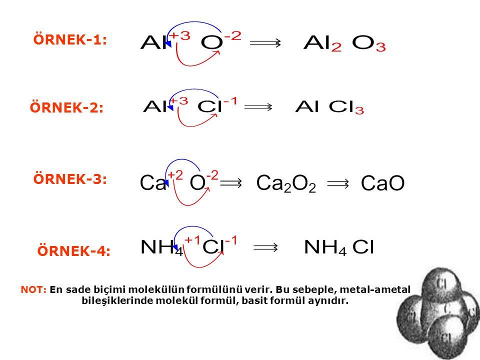 ÖRNEK-1: NOT: En sade biçimi molekülün formülünü verir. Bu sebeple, metal-ametal bileşiklerinde molekül formül, basit formül aynıdır. ÖRNEK-2: ÖRNEK-3