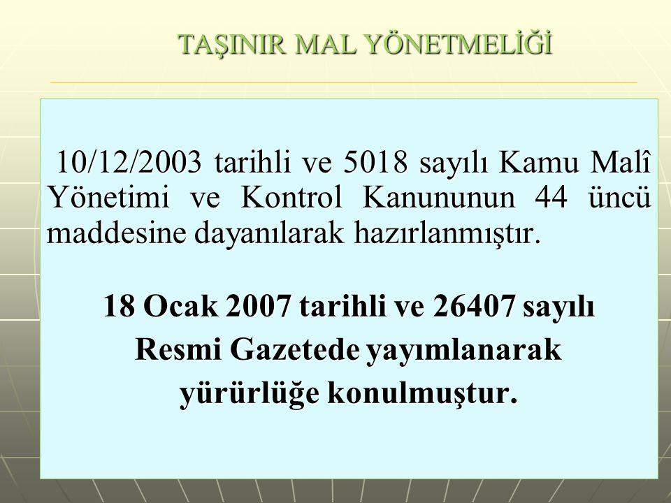 TAŞINIR MAL YÖNETMELİĞİ 10/12/2003 tarihli ve 5018 sayılı Kamu Malî Yönetimi ve Kontrol Kanununun 44 üncü maddesine dayanılarak hazırlanmıştır.