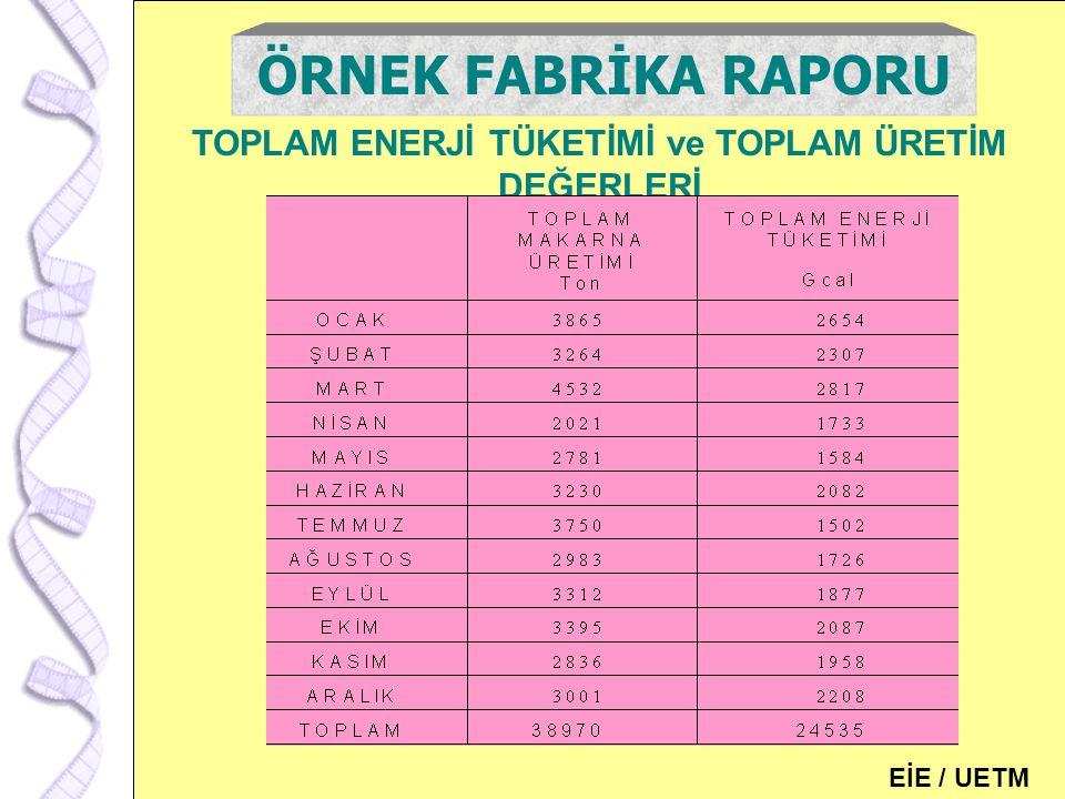 115 TOPLAM ENERJİ TÜKETİMİ ve TOPLAM ÜRETİM DEĞERLERİ ÖRNEK FABRİKA RAPORU EİE / UETM