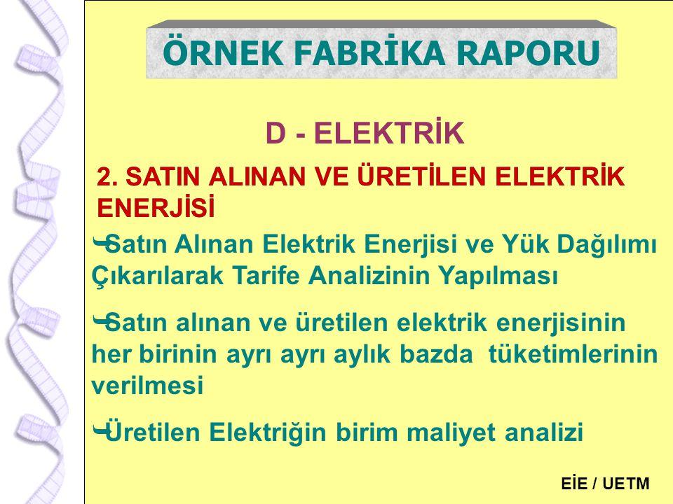 127 D - ELEKTRİK ÖRNEK FABRİKA RAPORU 2. SATIN ALINAN VE ÜRETİLEN ELEKTRİK ENERJİSİ  Satın Alınan Elektrik Enerjisi ve Yük Dağılımı Çıkarılarak Tarif