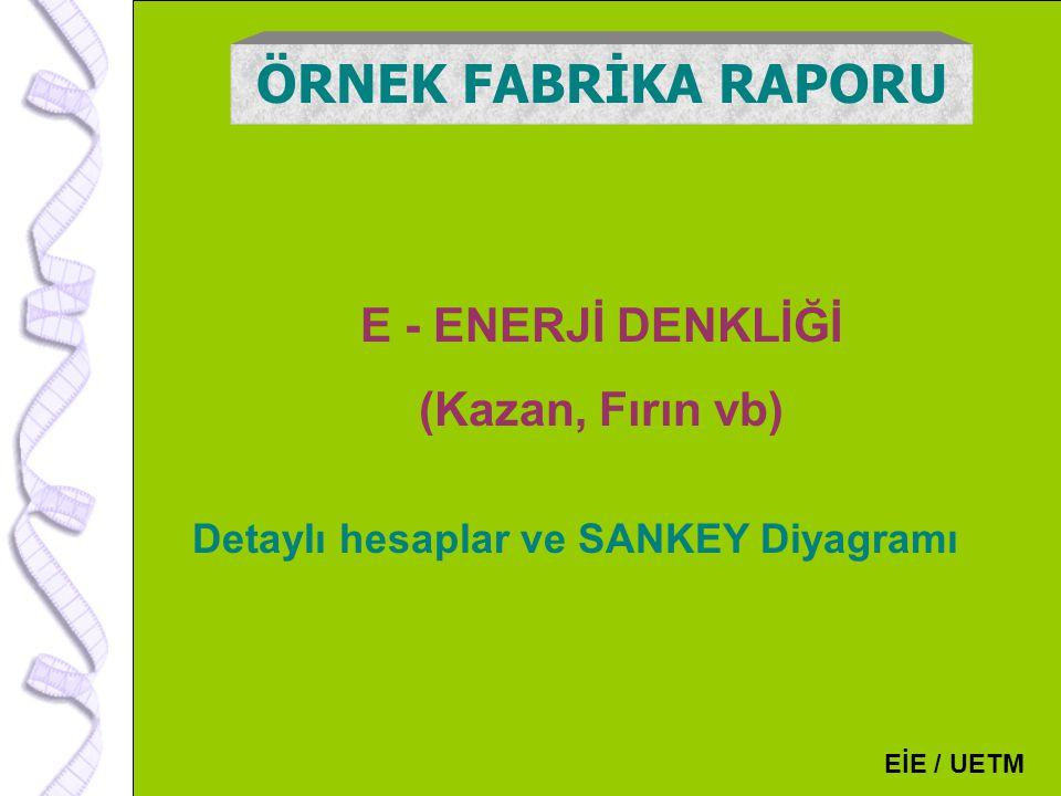 130 E - ENERJİ DENKLİĞİ (Kazan, Fırın vb) ÖRNEK FABRİKA RAPORU EİE / UETM Detaylı hesaplar ve SANKEY Diyagramı