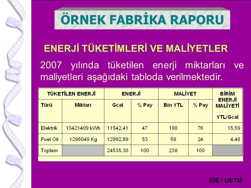 15 ENERJİ TÜKETİMLERİ VE MALİYETLER ÖRNEK FABRİKA RAPORU EİE / UETM 2007 yılında tüketilen enerji miktarları ve maliyetleri aşağıdaki tabloda verilmek