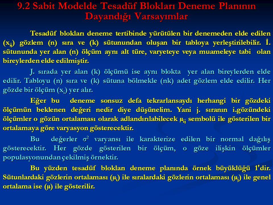 9.2 Sabit Modelde Tesadüf Blokları Deneme Planının Dayandığı Varsayımlar Tesadüf blokları deneme tertibinde yürütülen bir denemeden elde edilen (x ij