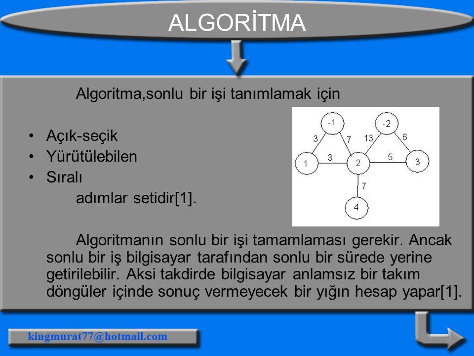 ALGORİTMA Algoritma,sonlu bir işi tanımlamak için Açık-seçik Yürütülebilen Sıralı adımlar setidir[1]. Algoritmanın sonlu bir işi tamamlaması gerekir.