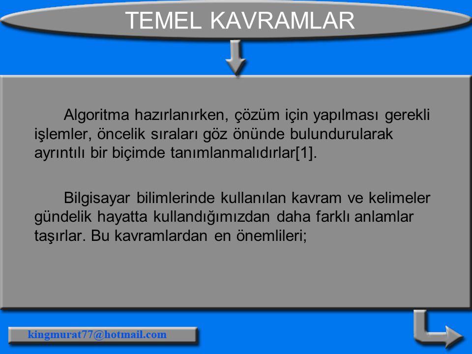 TEMEL KAVRAMLAR Algoritma hazırlanırken, çözüm için yapılması gerekli işlemler, öncelik sıraları göz önünde bulundurularak ayrıntılı bir biçimde tanımlanmalıdırlar[1].
