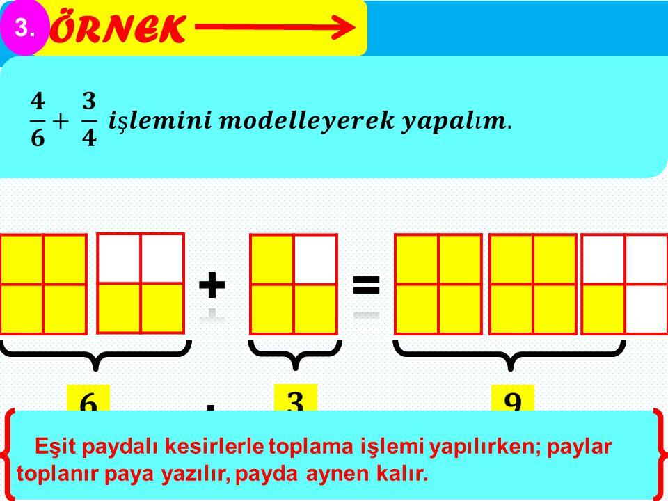 ÖRNEK 3. Eşit paydalı kesirlerle toplama işlemi yapılırken; paylar toplanır paya yazılır, payda aynen kalır.