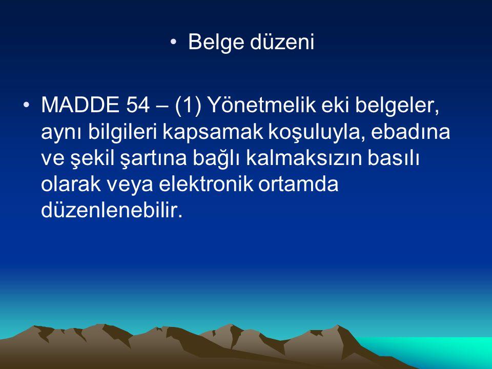 Belge düzeni MADDE 54 – (1) Yönetmelik eki belgeler, aynı bilgileri kapsamak koşuluyla, ebadına ve şekil şartına bağlı kalmaksızın basılı olarak veya elektronik ortamda düzenlenebilir.