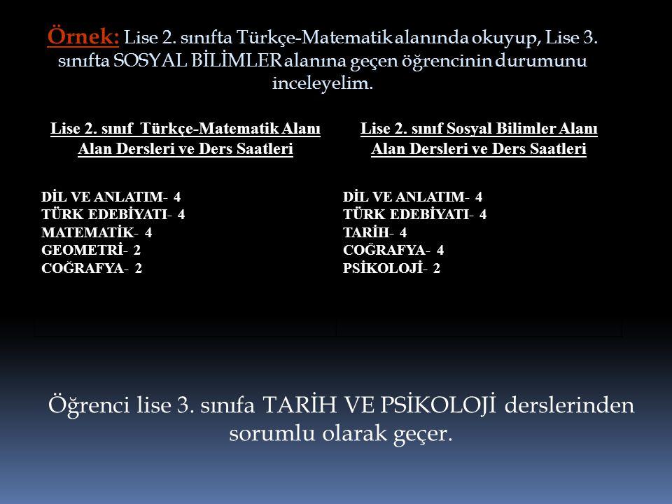 Örnek: Lise 2. sınıfta Türkçe-Matematik alanında okuyup, Lise 3. sınıfta SOSYAL BİLİMLER alanına geçen öğrencinin durumunu inceleyelim. Öğrenci lise 3