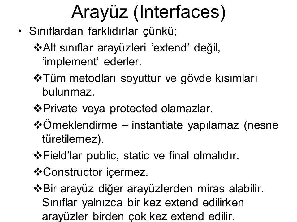 Arayüz (Interfaces) Sınıflardan farklıdırlar çünkü;  Alt sınıflar arayüzleri 'extend' değil, 'implement' ederler.  Tüm metodları soyuttur ve gövde k