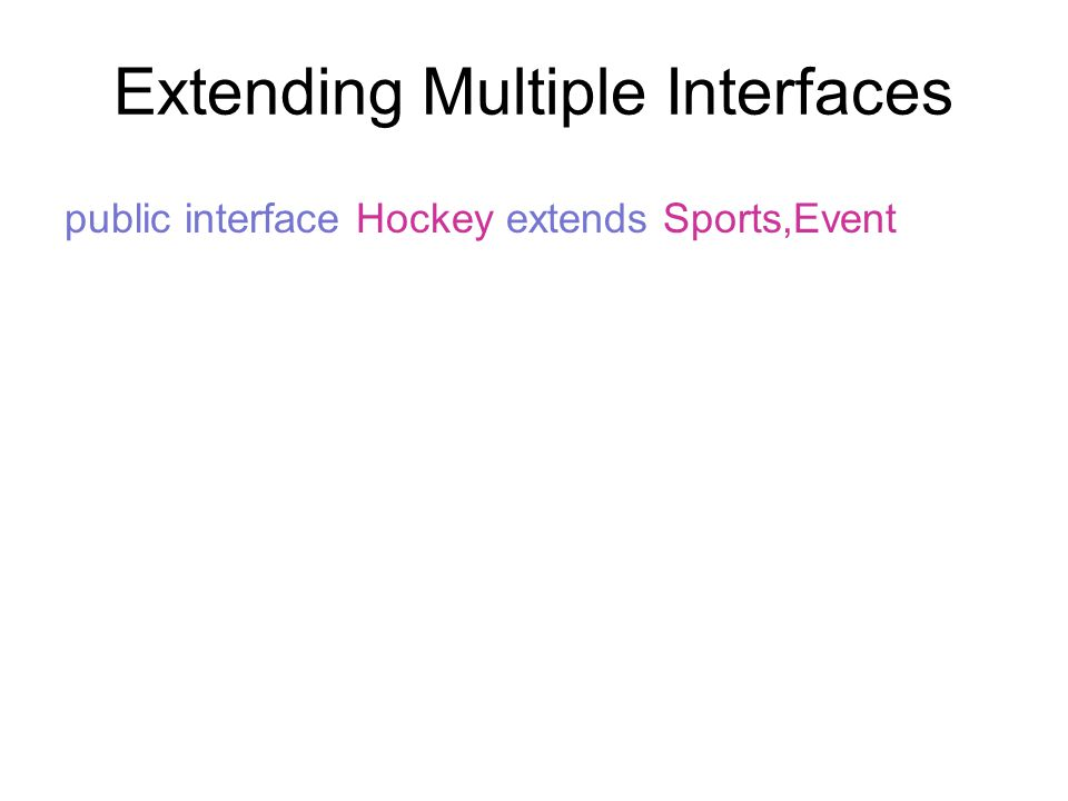 Extending Multiple Interfaces public interface Hockey extends Sports,Event