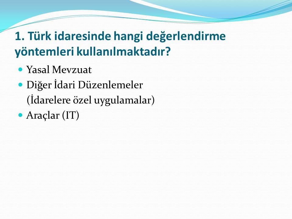 1. Türk idaresinde hangi değerlendirme yöntemleri kullanılmaktadır? Yasal Mevzuat Diğer İdari Düzenlemeler (İdarelere özel uygulamalar) Araçlar (IT)