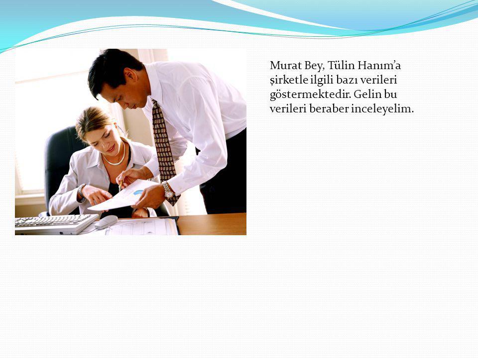 Murat Bey, Tülin Hanım'a şirketle ilgili bazı verileri göstermektedir. Gelin bu verileri beraber inceleyelim.