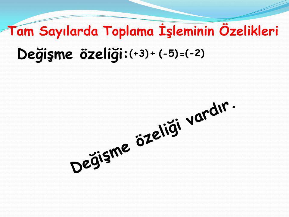 Tam Sayılarda Toplama İşleminin Özelikleri Değişme özeliği: (+3) + (-5) = (-2) D e ğ i ş m e ö z e l i ğ i v a r d ı r.