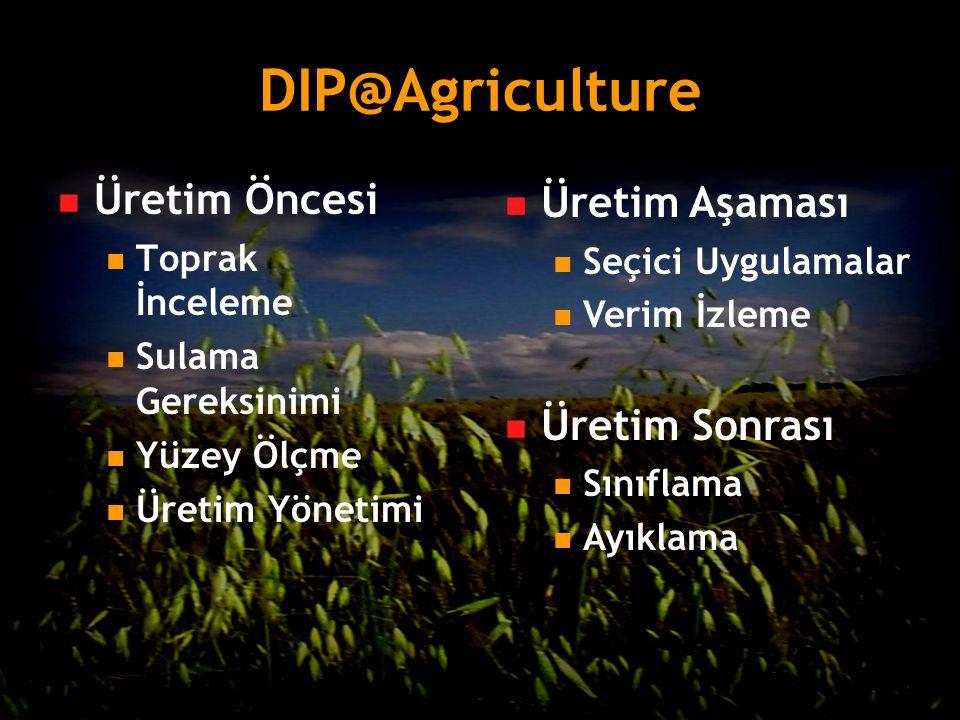 DIP@Agriculture Üretim Öncesi Toprak İnceleme Sulama Gereksinimi Yüzey Ölçme Üretim Yönetimi Üretim Aşaması Seçici Uygulamalar Verim İzleme Üretim Son