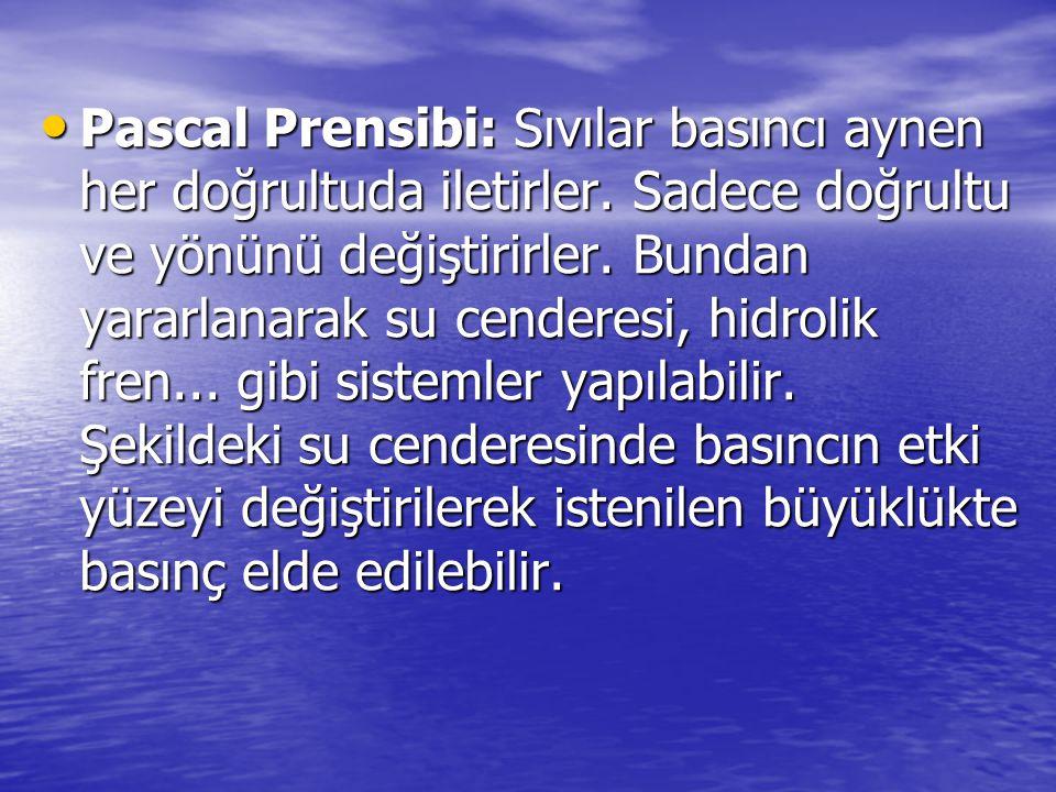 Pascal Prensibi: Sıvılar basıncı aynen her doğrultuda iletirler. Sadece doğrultu ve yönünü değiştirirler. Bundan yararlanarak su cenderesi, hidrolik f