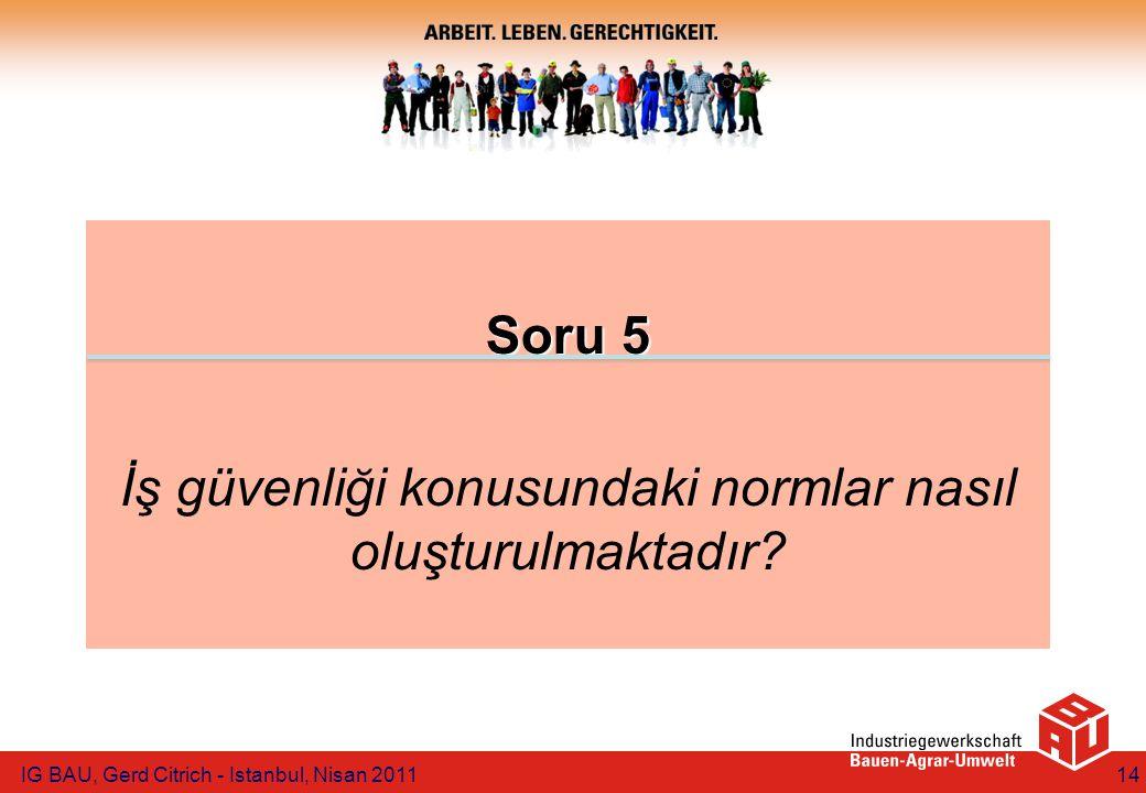 Soru 5 İş güvenliği konusundaki normlar nasıl oluşturulmaktadır? IG BAU, Gerd Citrich - Istanbul, Nisan 201114