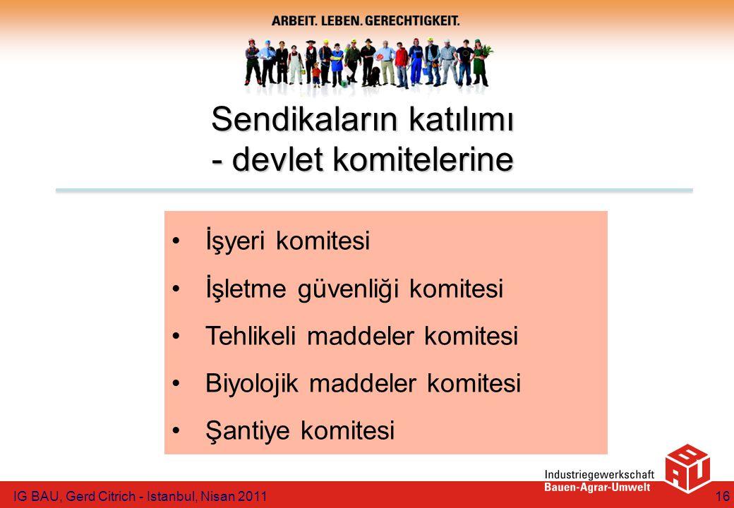 İşyeri komitesi İşletme güvenliği komitesi Tehlikeli maddeler komitesi Biyolojik maddeler komitesi Şantiye komitesi Sendikaların katılımı - devlet komitelerine IG BAU, Gerd Citrich - Istanbul, Nisan 201116