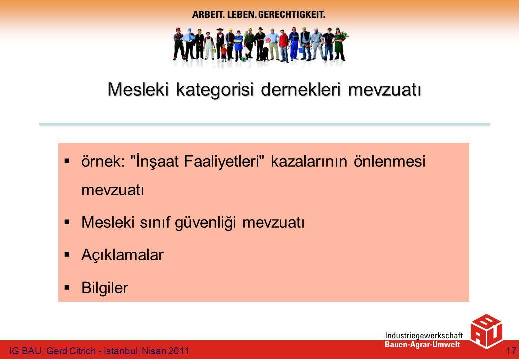 Mesleki kategorisi dernekleri mevzuatı  örnek: İnşaat Faaliyetleri kazalarının önlenmesi mevzuatı  Mesleki sınıf güvenliği mevzuatı  Açıklamalar  Bilgiler IG BAU, Gerd Citrich - Istanbul, Nisan 201117