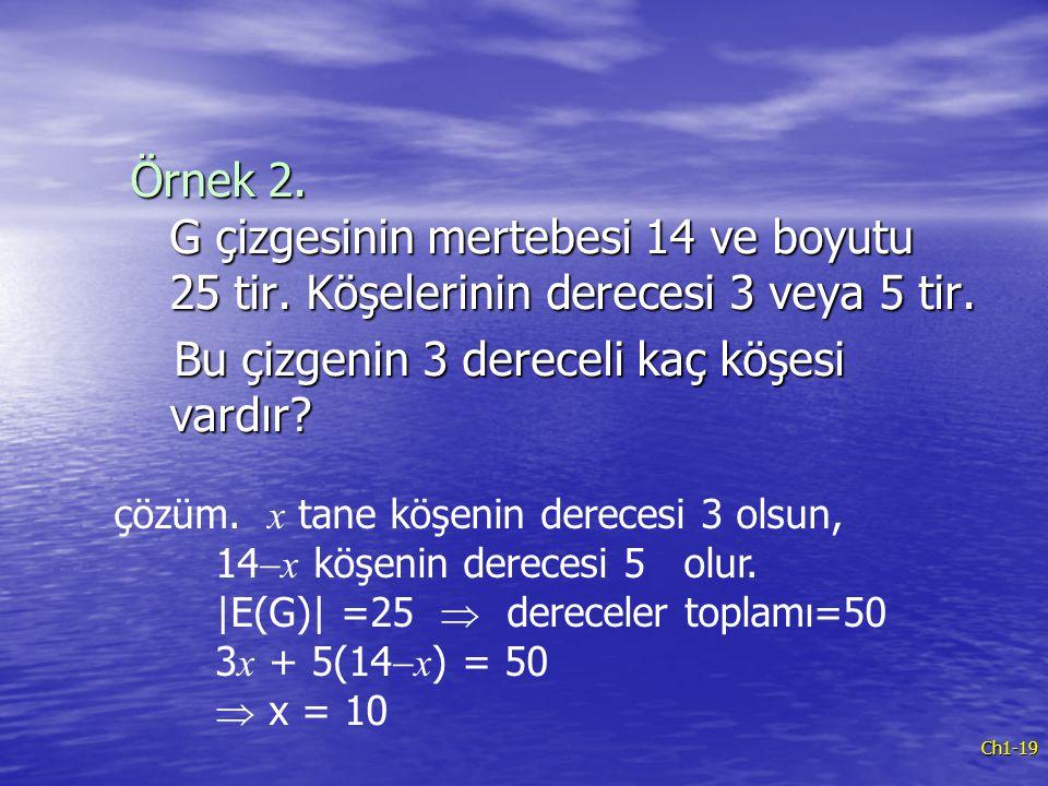 Ch1-19 Örnek 2. G çizgesinin mertebesi 14 ve boyutu 25 tir. Köşelerinin derecesi 3 veya 5 tir. Bu çizgenin 3 dereceli kaç köşesi vardır? Bu çizgenin 3