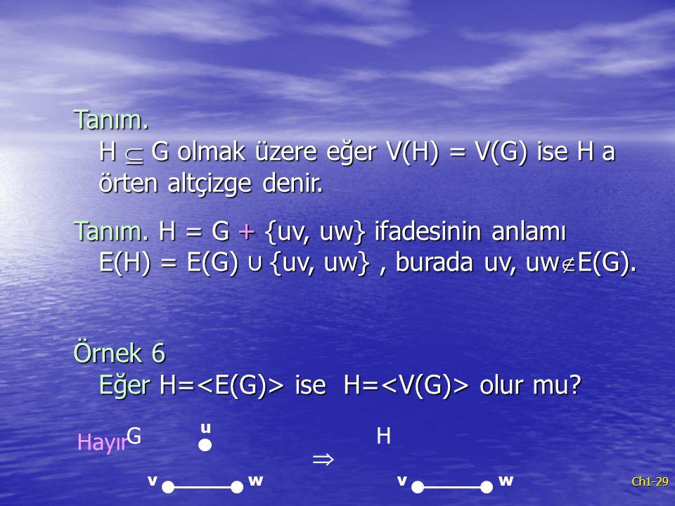 Ch1-29 Tanım. H  G olmak üzere eğer V(H) = V(G) ise H a örten altçizge denir. Tanım. H = G + {uv, uw} ifadesinin anlamı E(H) = E(G) ∪ {uv, uw}, burad