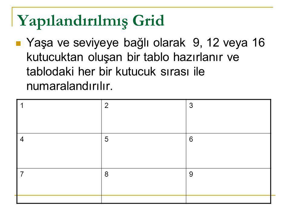 Yapılandırılmış Grid Yaşa ve seviyeye bağlı olarak 9, 12 veya 16 kutucuktan oluşan bir tablo hazırlanır ve tablodaki her bir kutucuk sırası ile numara