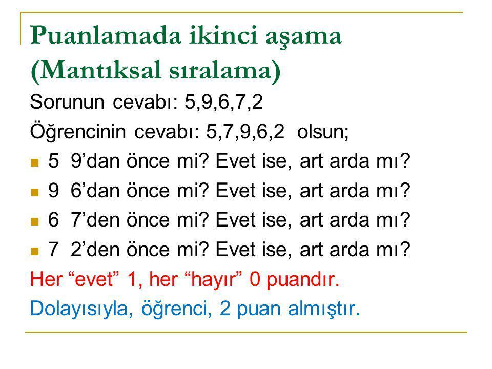 Puanlamada ikinci aşama (Mantıksal sıralama) Sorunun cevabı: 5,9,6,7,2 Öğrencinin cevabı: 5,7,9,6,2 olsun; 5 9'dan önce mi? Evet ise, art arda mı? 9 6