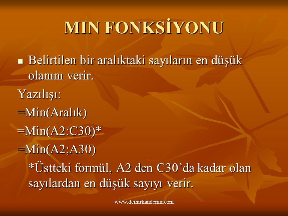 MIN FONKSİYONU Belirtilen bir aralıktaki sayıların en düşük olanını verir. Yazılışı: =Min(Aralık) =Min(A2:C30)* =Min(A2;A30) *Üstteki formül, A2 den C