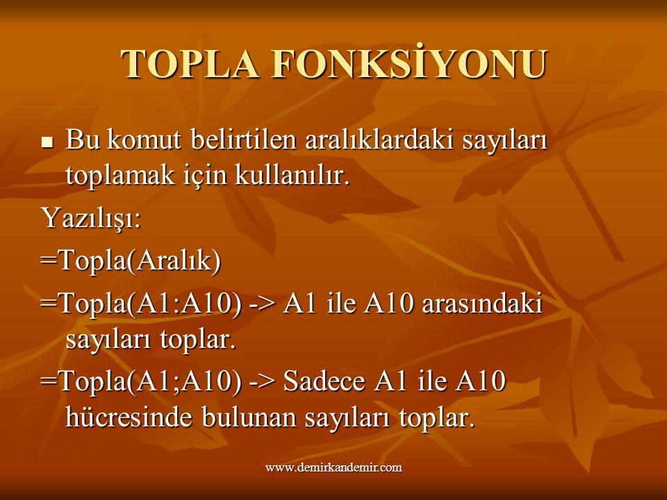 TOPLA FONKSİYONU Bu komut belirtilen aralıklardaki sayıları toplamak için kullanılır. Yazılışı: =Topla(Aralık) =Topla(A1:A10) -> A1 ile A10 arasındaki