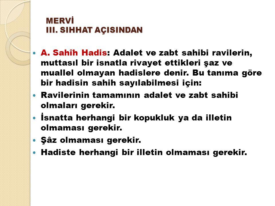 a.Sahîh lizatihi: Yukarıdaki vasıfları kendisinde taşıyan hadislerdir.