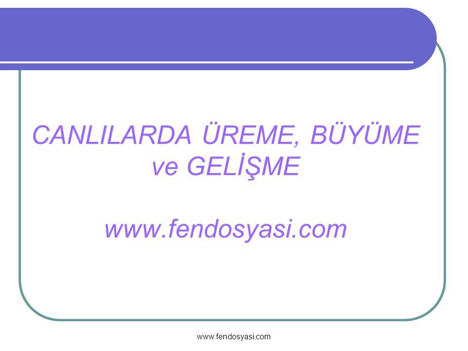 www.fendosyasi.com CANLILARDA ÜREME, BÜYÜME ve GELİŞME www.fendosyasi.com