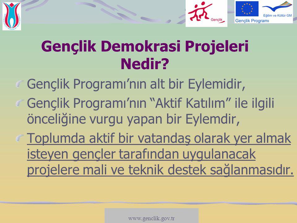www.salto-youth.net/participation Gençlik Demokrasi Projelerinin Amaçları Gençlerin katılımcı yapılara dahil fazla dahil olmasını sağlamak (karar-alma süreçlerine etki); Kamu/hükümet kuruluşları ile gençler arasındaki diyaloğu geliştirmek (danışma süreci); Gençleri siyasi karar-alma süreçlerine yakınlaştıracak stratejiler geliştirmek (katılımı öğrenmek); Gençlerin demokratik hayata katılmalarını engelleyen nedenlerle mücadele etmek (katılmayı öğrenmek/dahil etme süreçleri)...
