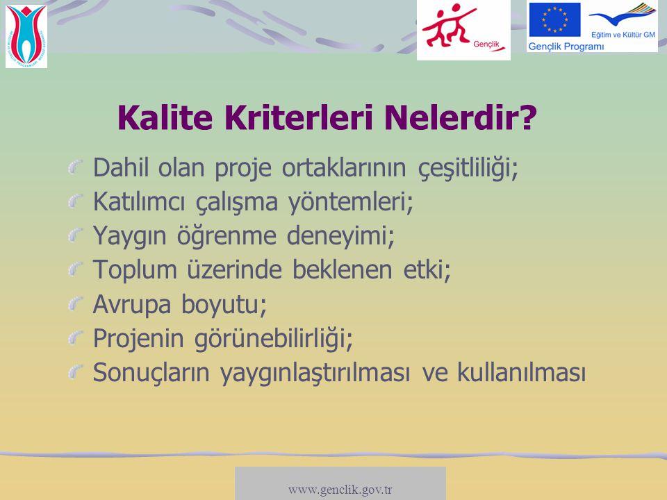 www.salto-youth.net/participation Teknik Kriterler Ortaklık:  En az biri AB ülkesi olmak üzere en az 2 Program ülkesi (AB ülkeleri+Linkeştayn, Norveç, İzlanda ve Türkiye)  Her bir ülkeden en az 2 farklı yararlanıcı  Proje ortakları resmi olmayan gençlik grupları veya kar amacı gütmeyen kuruluşlar/Sivil Toplum Kuruluşları ya da yerel/bölgesel düzeyli kamu/hükümet kuruluşları veya ASTK olabilir Katılımcılar: En az 13-30 yaş aralığında 16 katılımcı www.genclik.gov.tr