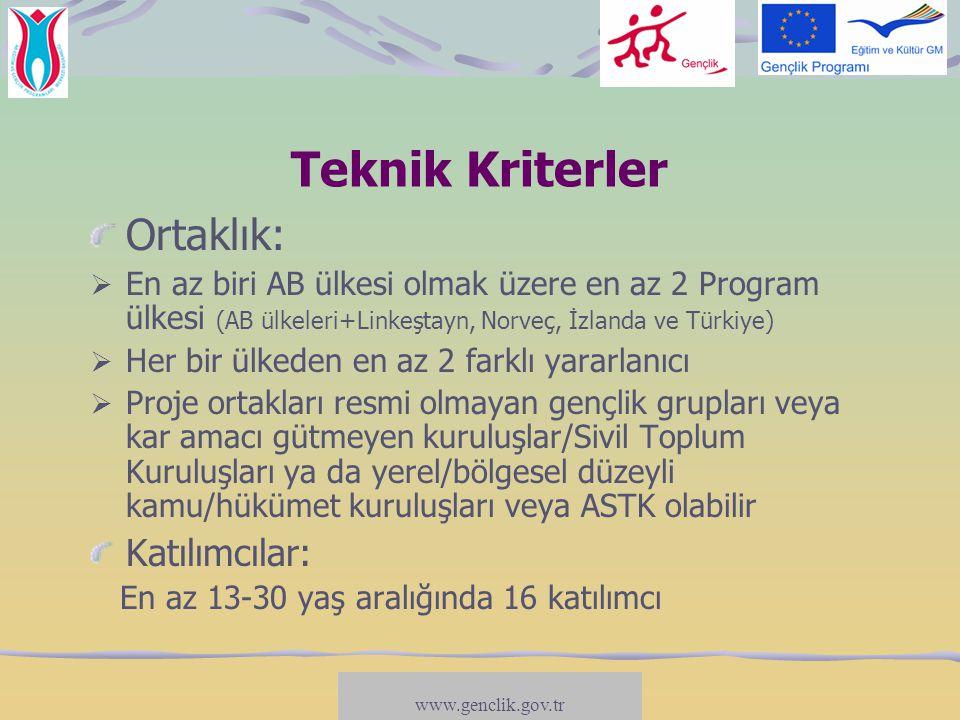 Teknik Kriterler Süre: 3 ile 18 ay arasında (hazırlık, uygulama, değerlendirme ve takip dahil) Spesifik tema:  Gençlerin temsili demokrasi mekanizmalarına katılımları,  Gençlerin temsili demokrasi ve aktif vatandaşlık kavramlarını ve uygulamalarını deneyimlemeleri,  Gençler ile tüm düzeylerdeki karar-vericiler arasında diyalog geliştirme,  Yukarıda sunulan hususların herhangi bir bileşeni.