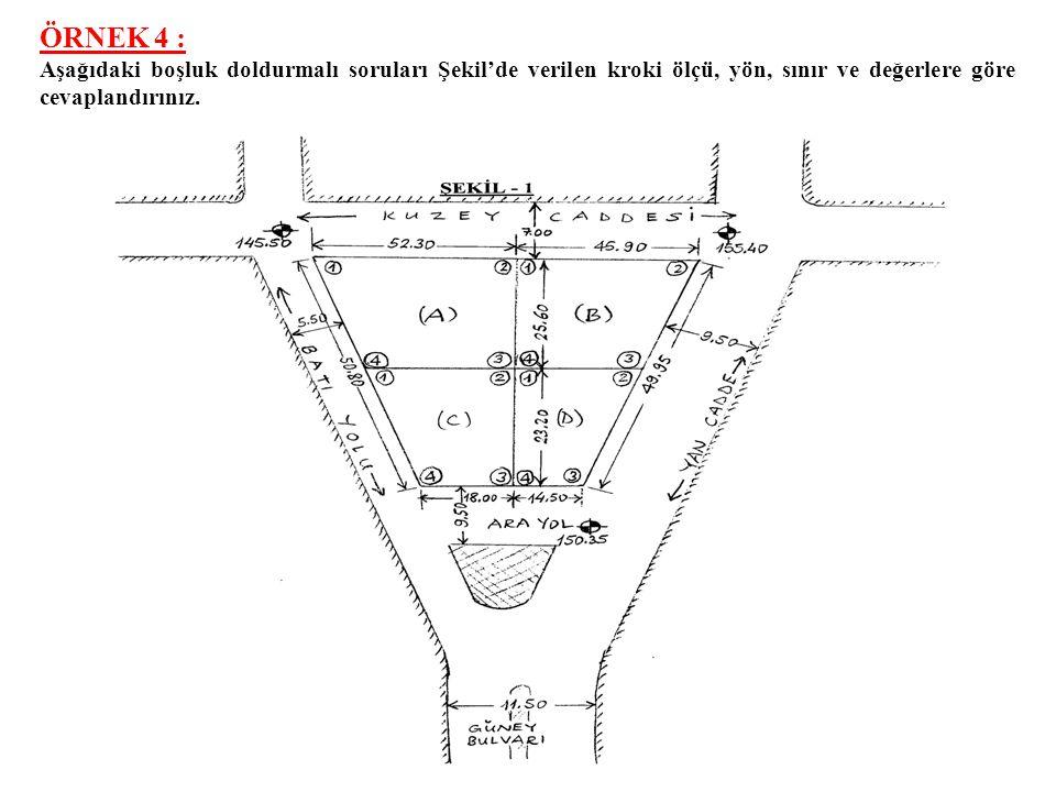 ÇÖZÜM: a) 14750/545 Parselde inşa edilecek ayrık nizam bir yapının; Parsel cephe hattı= 22.00 m., Parsel derinliği= 25.00 m., Bina taban alanı= 238 m 2,Bina derinliği= 17.00 m., Bina yüksekliği= 12.50 m., Saçak kotu= 449.47, Kat adedi= 4, Zemin kat kotu= 437.47, Brüt inşaat alanı= 952 m 2,Bina cephesi= 14.00 m., Yapı inşaat alanı= 952 m 2, KAKS ı= 952/550=1.73<2, İAKS ı= KAKS= 1.73, TAKS ı= 238/550=0.43>%40, Rötret kotu= 437.29 14750 nolu imar adasının alanı= 4350.50 m 2 14750/552 Parselde inşa edilecek ayrık nizam bir yapının; b) Yapı yaklaşma sınırları: Atatürk Caddesinden= 5.00 m.,Güney Yolundan = 5.00 m., 551 nolu parselden = 6.00 m.,548 nolu parselden= 6.00 m., Parsel cephe uzunluğu = 30.00 m.,Parsel derinliği = 17.60 m., Bina taban alanı = 125.40 m 2,Bina yüksekliği= 24.50 m., Yapı inşaat alanı = 1003.20 m 2,Bina derinliği = 6.60 m., Kat adedi= 8,Ön bahçe mesafesi= 5.00 m., TAKS ı= 125.40/528= 0.238 < %40,KAKS ı = 1003.20/528=1.90 < 2.00