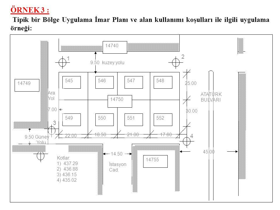 ÇÖZÜM: a)Yukarıdaki A'dan F'ye kadar olan arsa sahiplerinin aralarında anlaşması suretiyle TEVHİD (BİRLEŞTİRİLEREK) edilerek blok yapı nizamında inşaata açılırsa bu durumda parsel genişliği 72,00 m.
